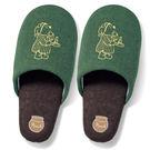 迪士尼小熊維尼室內拖鞋居家拖鞋布面刺繡M號綠底睡衣200004通販屋