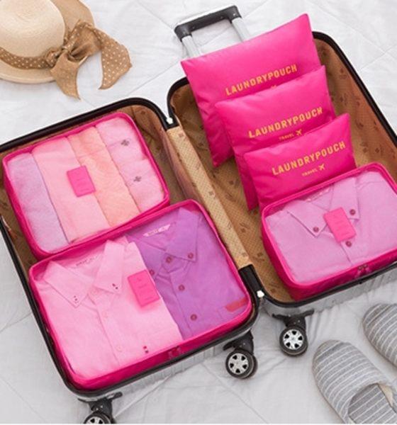 《129元專區》輕巧簡便旅行衣物收納網格袋超值組(6件/套)-桃紅