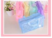 『蕾漫家』【H011】現貨-韓風旅行收納袋拉鏈包 碎花PVC防水化妝品包洗漱沐浴用品收納袋