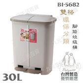【九元  】翰庭BI 5682 雙格環保分類腳踏垃圾桶30L 二分類垃圾桶分類垃圾桶 製