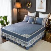 全棉水洗夾棉床裙三件組純棉床罩加厚1.2米*2.0米蕾絲花邊防滑床套