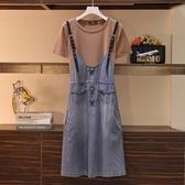 【A4981】皮帶式牛仔吊帶裙 XL-5XL