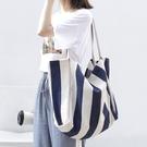 條紋帆布小清新女包包 韓版女款文藝大包包 大容量女士托特包 時尚女生單肩包 潮流複古托特包