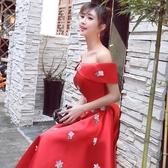 婚紗禮服 紅色孕婦敬酒服新娘高腰婚禮一字肩訂婚宴會小禮服