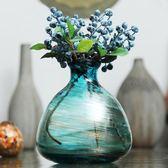 花瓶 Z3千花古法金沙玻璃北歐小花瓶  歐式花插 餐桌擺設花器-凡屋FC