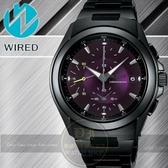 WIRED日本原創紫色戰神三眼計時腕錶-紫/IP黑/41mm 7T92-X221T/AF8Q19X公司貨