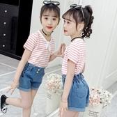 女童上衣 女童洋氣T恤短袖2020年夏季半袖夏裝寬鬆韓版兒童中大童 交換禮物