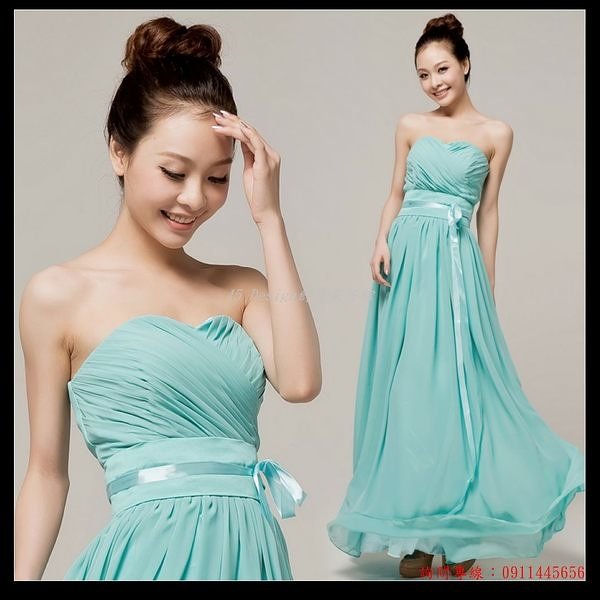 (45 Design  )   7天到貨  伴娘禮服 新款藍色抹胸敬酒晚禮服 新娘結婚長款婚紗禮服