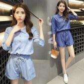 【好康618】學院風復古淺藍色襯衫連身褲夏女韓版寬鬆