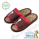 【クロワッサン科羅沙】Peter Rabbit 雙線格素邊室內草蓆拖鞋 (紅色26CM)