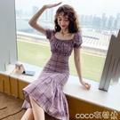 魚尾連身裙法式心機裙子新款夏氣質女神范包臀裙修身顯瘦格子魚尾連身裙