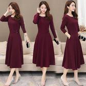 韓版中長款大碼顯瘦媽媽連衣裙女純色過膝長袖秋裝氣質中年大擺裙