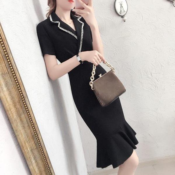 2018夏季新款修身氣質職業短袖包臀連身裙女西裝領小禮服魚尾裙子