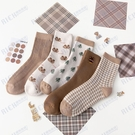 女士加厚毛圈千鳥格刺繡小熊兔子冬季保暖韓版學院風睡眠襪
