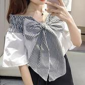 現貨-棉麻衫-M~XL壓皺綁帶一字領短袖棉麻衫 Kiwi Shop奇異果0331【SQA6477】
