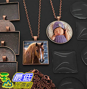 [106美國暢銷兒童軟體] 20 Pack Large Square and Circle Assortment Copper Photo Pendants wGlass