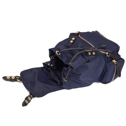 BURBERRY THE RUCKSACK 科技尼龍皮革軍旅小型斜背後背兩用包(墨藍)