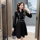 VK精品服飾 韓國小香風蝴蝶結雙排釦收腰氣質時尚緊身長袖洋裝