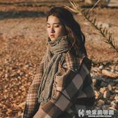 女士圍巾秋冬季韓版學生百搭針織披肩長款英倫千鳥格子保暖圍脖兩用 快意購物網