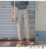 棉麻長褲 薄款挺括工裝水洗棉麻直筒長褲