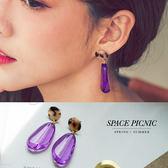 耳環 Space Picnic|現+預.琥珀迷幻紫垂墜式耳環【C18052019】