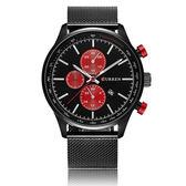 CURREN造型三眼紅針鋼帶日曆手錶對錶[WC011]