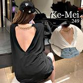 克妹Ke-Mei【AT69242】撩人的!性感金屬鍊摟空大露背造型T恤上衣