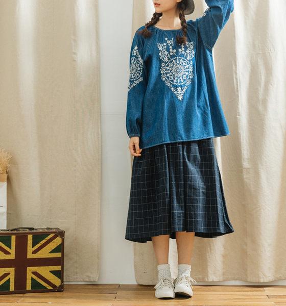 長裙 無印日系線條格紋棉麻長裙 單色-CALLING
