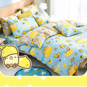 【BREAD TREE麵包樹】精梳棉雙人四件式兩用被床包組(檸檬派對)檸檬派對(淺藍)