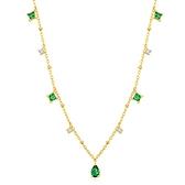純銀鍍14K金項鍊+鋯石吊墜-復古水滴綠鋯石氣質女飾品74aq47【巴黎精品】