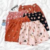 夏季新款可愛少女卡通印花元氣色繫舒適寬鬆鬆緊腰短褲長褲設計睡褲 簡而美