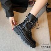 馬丁靴女英倫風春秋單靴百搭短靴子潮系帶機車靴【時尚大衣櫥】