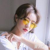 新款貓眼時尚復古個性太陽鏡女潮人韓版透明紅色防紫外線墨鏡 zm4531『男人範』