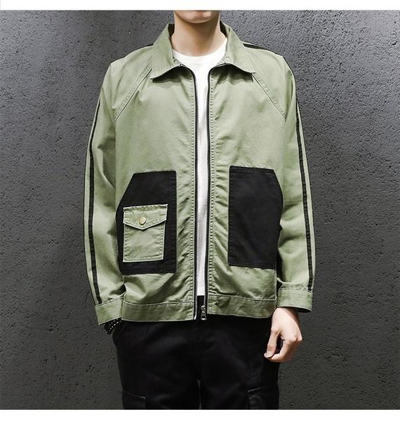 FINDSENSE H1秋季 新款 日本 街頭 原宿 撞色 帥氣夾克  翻領 氣