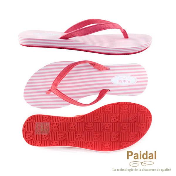 Paidal 時尚條紋波希米亞渡假夾腳拖鞋涼鞋-粉