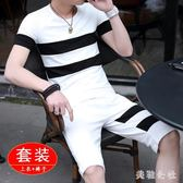 中大尺碼運動套裝夏季男士短袖短褲套裝2019新款潮流休閒兩件套 DJ9775『美鞋公社』