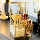 復古銅化妝刷收納桶玻璃收納盒唇釉收納桶防塵帶蓋化妝盒MBS「時尚彩紅屋」