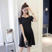 2018夏韓版晚宴服一字領禮服打底裙連身裙
