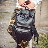 書包男時尚PU皮質功能雙肩包男女潮流學生書包男士背包旅行包