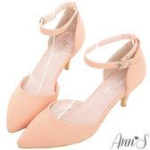 Ann'S優雅女伶-性感繫帶尖頭低跟鞋-粉
