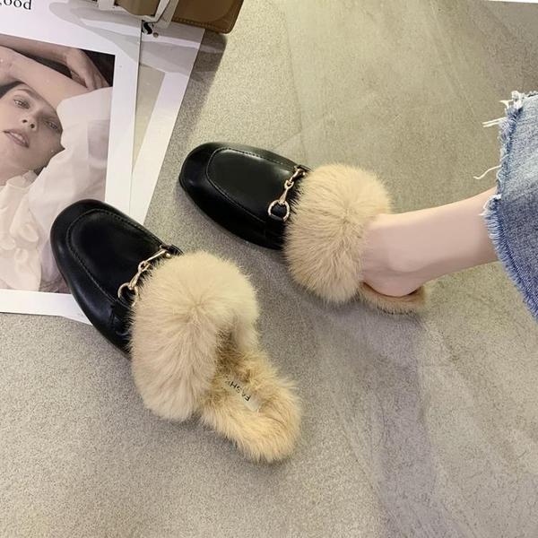 網紅懶人毛毛拖鞋包頭半拖鞋女外穿2020年新款潮鞋時尚百搭穆勒鞋 後街五號