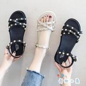 涼鞋女鞋休閒夏季鉚釘時尚學生百搭平底【奇趣小屋】