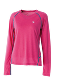 Wildland 荒野 女圓領彈性抗UV長袖衣 抗紫外線/多功能/吸濕快乾/登山旅遊 0A51619-09桃紅色