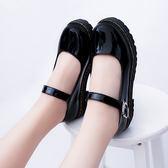 日系復古圓頭娃娃單鞋學院風皮帶扣平底平跟時尚女鞋英倫小皮鞋潮    初語生活