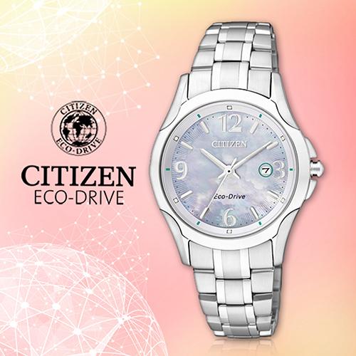 CITIZEN 星辰手錶專賣店 EW1780-51A 女錶 Eco-Drive光動能  日系 不銹鋼錶殼錶帶 銀 白碟貝面板