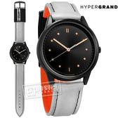 HyperGrand / BW02BLKHAL / HIDE x SEEK 飛行員2.0版魔鬼氈徽章反光面料真皮手錶 黑x銀灰 40mm