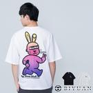 惡搞小兔 漸層 【OBIYUAN】情侶 短T寬鬆 落肩 衣服 短袖t恤 上衣 共2色【SW3303】