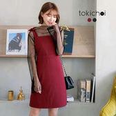東京著衣-輕甜女孩不對稱綁帶及膝洋裝-S.M(172725)