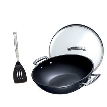 【LE CREUSET】全新TNS雙耳炒鍋 32公分 + TNS玻璃鍋蓋+不鏽鋼矽膠鍋鏟