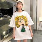 中長款短袖春夏女裝韓版寬鬆卡通可愛學院風...